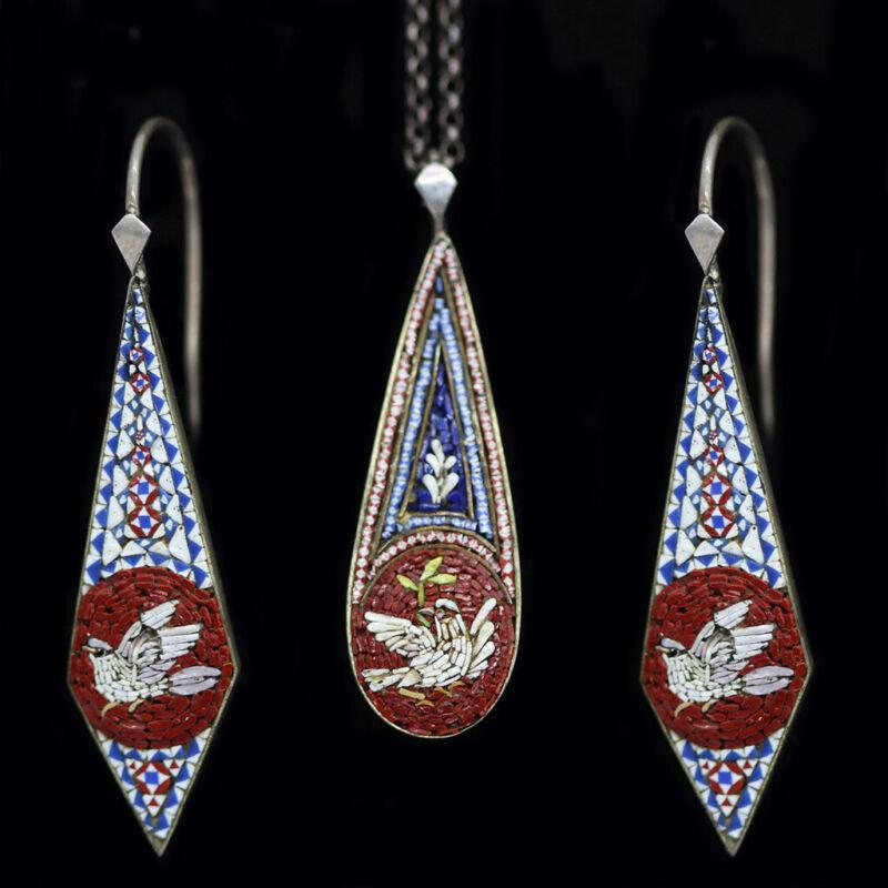 Antique Victorian Micro Mosaic Earrings Pendant Set Dove Micromosaic  (4597)