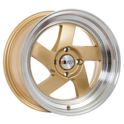 F1R F08 15x8 4x100 Et25 Gold Wheels Fits Honda Accord Civic Crx Fit Del So