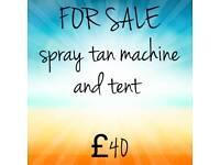 Spray tan machine and tent