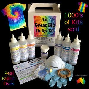 Great Big Tie Dye Kit 6 rainbow colours dye 30 items BIG 250ml bottles