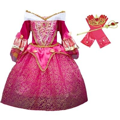 DH Sleeping Beauty Princess Aurora Girls Costume Dress Cosplay Accessories 5-6 - Princess Aurora Dress