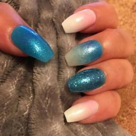 Blue Sparkle Hand Painted False Nails