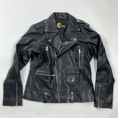Prim Leather Womens Motorcycle Biker Jacket Black Asymmetric Zip Pockets L New for sale  Shipping to India