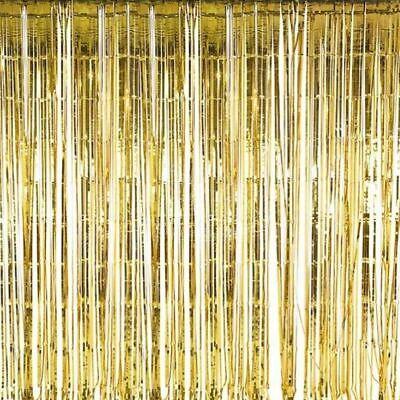 Shiny Gold Metallic Tinsel Backdrop Curtains Birthday Wedding Anniversary Decor](Gold Metallic Curtains)