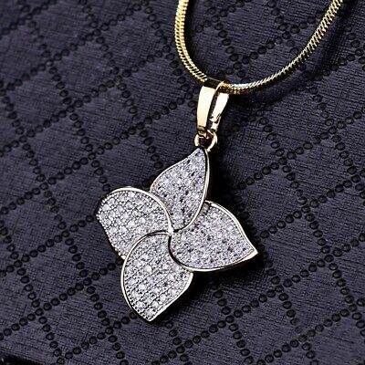 Women Dazzling Sapphire Crystal Yellow Gold Four-Leaf Clover Pendant Necklace Gold Four Leaf Clover Necklace