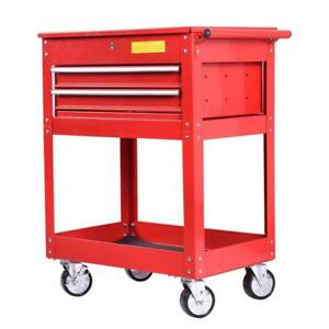Metal Rolling Tool Cart 2 Drawer Cabinet Storage ToolBox Portable Mechanic Lock - BRAND NEW - FREE SHIPPING