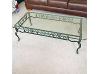 Ornate cast iron and detachable tempered glass table IG1 4UR