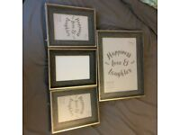 Set of 4 picture frames - Rustic wood/ gold effect - £8 ono