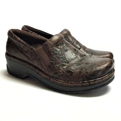 NEW Klogs Napels Women 8 M Closed Back Clogs Brown Floral Tooled Leather Slip On