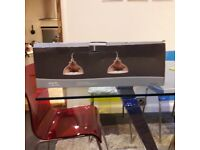 TWIN BULB COPPER AND POLISHED STEEL LIGHT BRAND NEW
