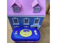 Wooden dolls house with furniture and wood dolls