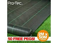 m x 50m wide 100gsm weed control fabric garden landscape ground cover membrane