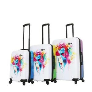 Mia Toro Italy-Prado-Peace Love Happiness Spinner Luggage 3pc Set
