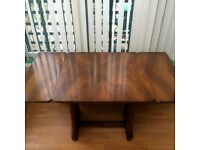 Double Leaf Dining Table with leather padded table protector. 75cm x 75cm