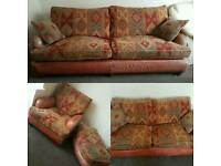 Genuine Goose Feather & Real Leather Sofa Set. 4 Seater, 3 Seater, 1 Seater and Footstool.