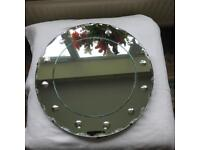 Original Art-deco circular mirror, porthole style bevelled scalloped