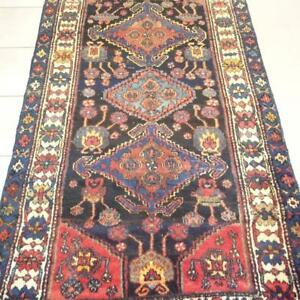Hamedan Semi-Antique Persian Rug , Handmade Carpet, Wool, Blue, Navy Blue, Beige, Pinky, Green and Orange Size: 7.7 X 4.