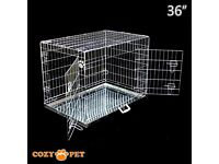 "Cozy Pet Dog Cage 36"" Silver High Quality Metal Tray Folding Puppy Crate Cat Carrier Dog Crate ."