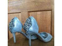Embellished heel wedding shoes