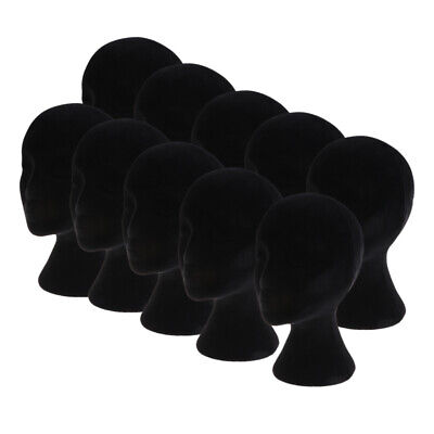 10pcs Black Styrofoam Mannequin Manikin Head Models Wigs Glasses Display Stands