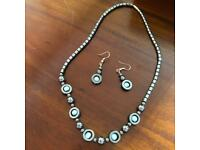 Gorgeous Black Hermanite Necklace + Blue Stones With Matching Earrings Jewellery Dinner Party