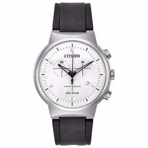 Citizen AT2400-05A Men's Eco-Drive Paradex PU Band White Dial Chronograph Watch