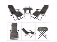 garden furniture set 2 recliner chairs and table new in box.