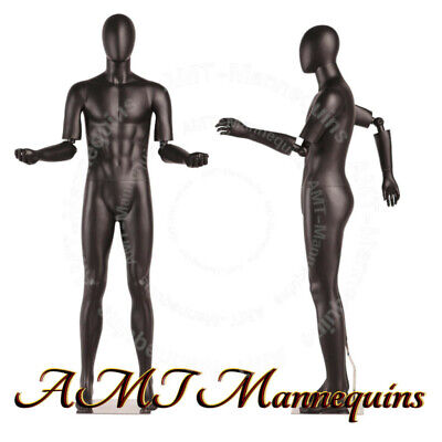 MALE FULL BODY MANNEQUINS FLEXIBLE ARTICULATED ARMS, BLACK HIGH END mannequin   Black Full Body