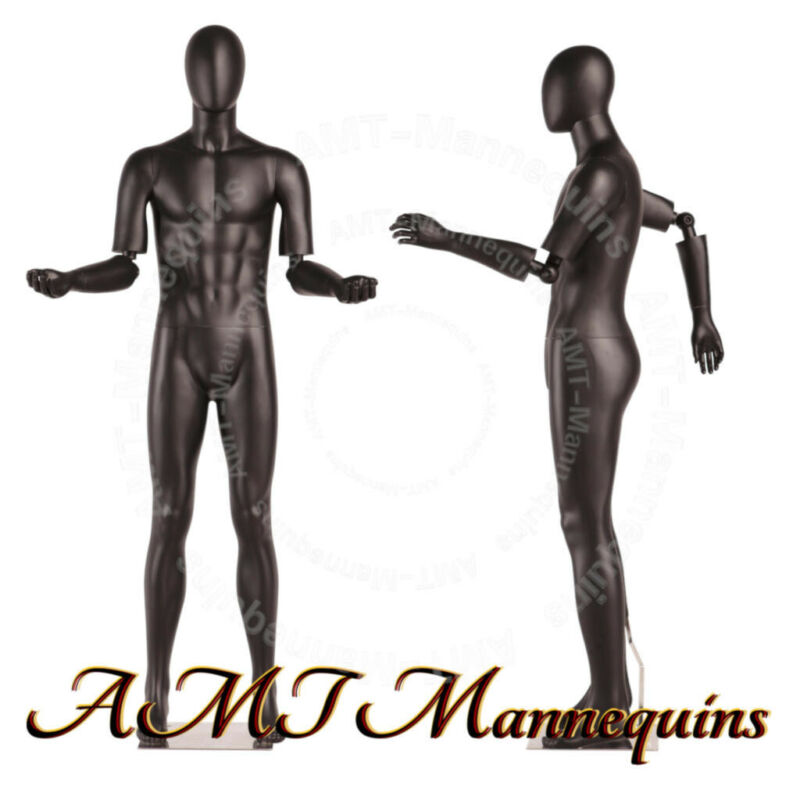 MALE FULL BODY MANNEQUINS FLEXIBLE ARMS, HEAD TURNS,BLACK HIGH END mannequin