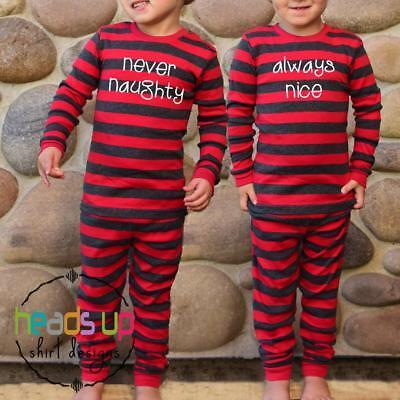 Twin Christmas Pajamas Boy or Girl Siblings Kids PJs Never Naughty Always Nice - Matching Sibling Christmas Pajamas