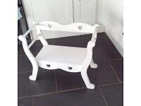 Children's white carved bench