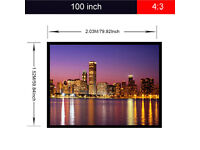 New,, Portable 100'' or,84 inch,,,4:3 Fabric Matte PVC Projector Screen 1080P 3D
