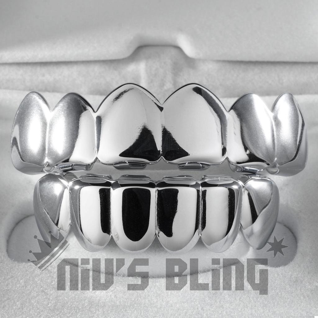 18K White Gold IP Plated Mouth Teeth GRILLZ Top & Bottom JOK