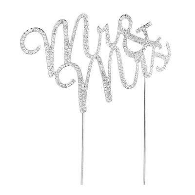 New Mr & Mrs Wedding Cake Topper Decoration Rhinestone And Diamante Crystal Sign