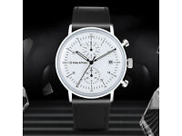 White Keller & Weber Mens Chronograph Watch Bauhaus Minimalist Junghans Junkers Homage