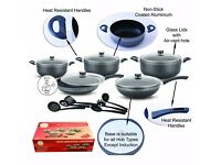 16 Piece Non Stick Complete Cookware Set With Utensil Set & Composite Bottom