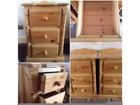 2 x solid pine bedside drawers lovely detail to the front tongue & grooved