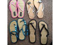 Ladies flip flop sandals size 4 £1 each all for £3