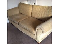 Three Seater Fabric Settee and Matching Chair.