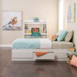 FREE shipping in Canada! White Twin Mate's Platform Storage Bed with 3 Drawers by Prepac at Wholesale Furniture Brokers