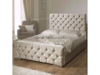 STYLISH CRUSHED VELVET CHESTERFIELD DOUBLE BED FRAME BLACK/BROWN MATTRESS OPTION AVAILABLE