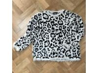 M&S Collection Animal Print Soft Shaggy Knit Jumper