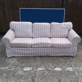 White and Pink Covered 3 Seater Sofa
