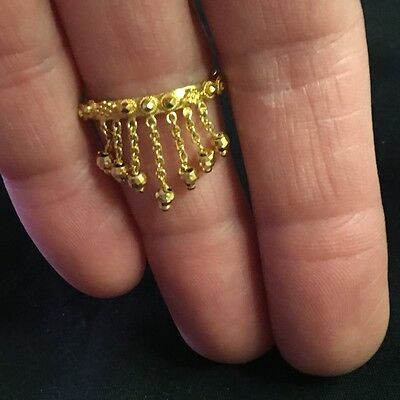Ethnic Indian style Solid 22k ring with chain tassels hand made granulation