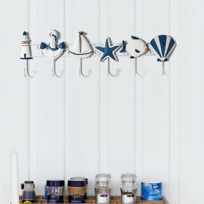 Iron Sea Starfish Wall Hook Hat/Key Ring/Bath/Beach Towel Holder Nautical B