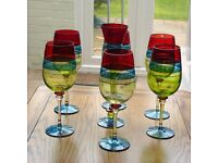 Set of 6 Pier wine glasses & matching flute