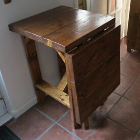 Rustic Space Saving Drop Leaf Breakfast Bar