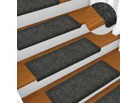 Stair Mats 15 pcs Needle Punch 65x25 cm Grey-134562