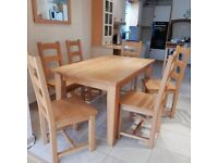 Beautiful Genuine Solid Beech Table & 6 Chairs. Much Loved, a Pleasure to use and very easy to clean