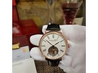 New white face black strap rose gold Casing IWC International Watch Co with flying wheel automatic